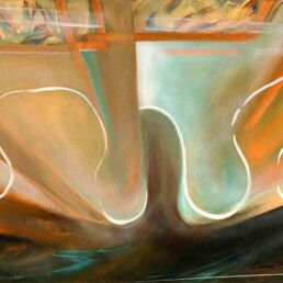 Medium-sized horizontal painting made of acrylic in which the painter tried to reproduce her most intimate feelings while waiting for her loved one. The artwork incorporates mostly brown and orange colors crossed horizontally by white waves, all set against an abstract background resembling a window frame