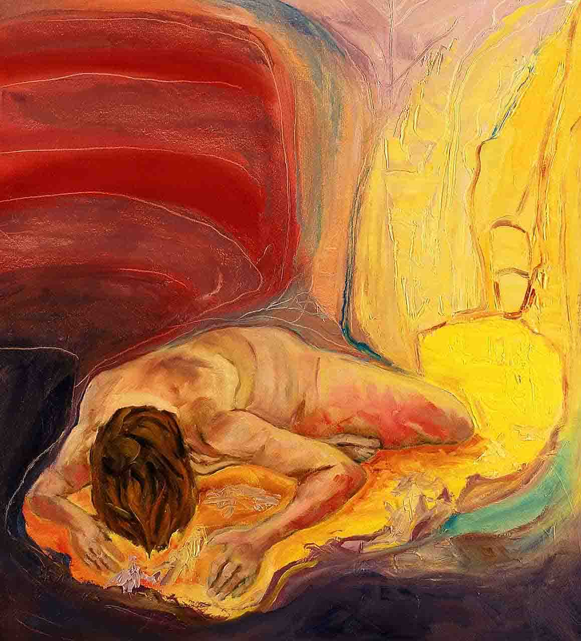 Pain and restlessness that expresses the soul of her that has fallen for the love that is gone, but the light illuminates and brings hope.