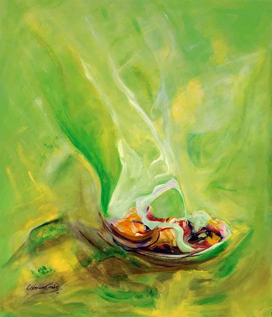 Pintura vertical de color mayoritariamente verde, totalmente abstracta que pareciera simbolizar un plato de comida humeante, o alguno muy agradable, y realizada en acrilico sobre lienzo