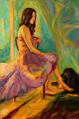 Oil painting of a black-haired dog lying at the feet of a girl in an attitude of mutual tenderness between them, the woman wearing a long red dress with hints of abstraction that continue on the back wall of this vertical painting on canvas.