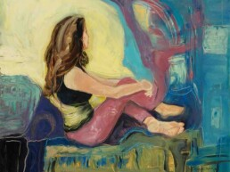This photo reflects a horizontal oil painting on canvas of a seated young woman, who seems to be thinking about some lost love. This artwork is figurative, but has touches of abstraction as Ana's paintings usually have.