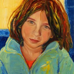 Painting of a young girl, Pure beauty with a cheerful air and crystalline gaze, which is reflected in the colors that illuminate her and transmit his restless spirit. blue eyes, blond hair.