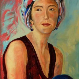 Portrait of a beautiful woman with a scarf on her head which gives her an appearance of coming from the East, which alludes to the mystery of the past, thus expressed in an oil painting on canvas, vertical, of medium size, in green, pink and blue colors on an abstract background