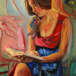 Oil painting of a young woman sitting, concentrating on reading a book, with her long multicolored hair and natural beauty. On her dress and on the wall there are signs of abstraction. Vertical painting on canvas