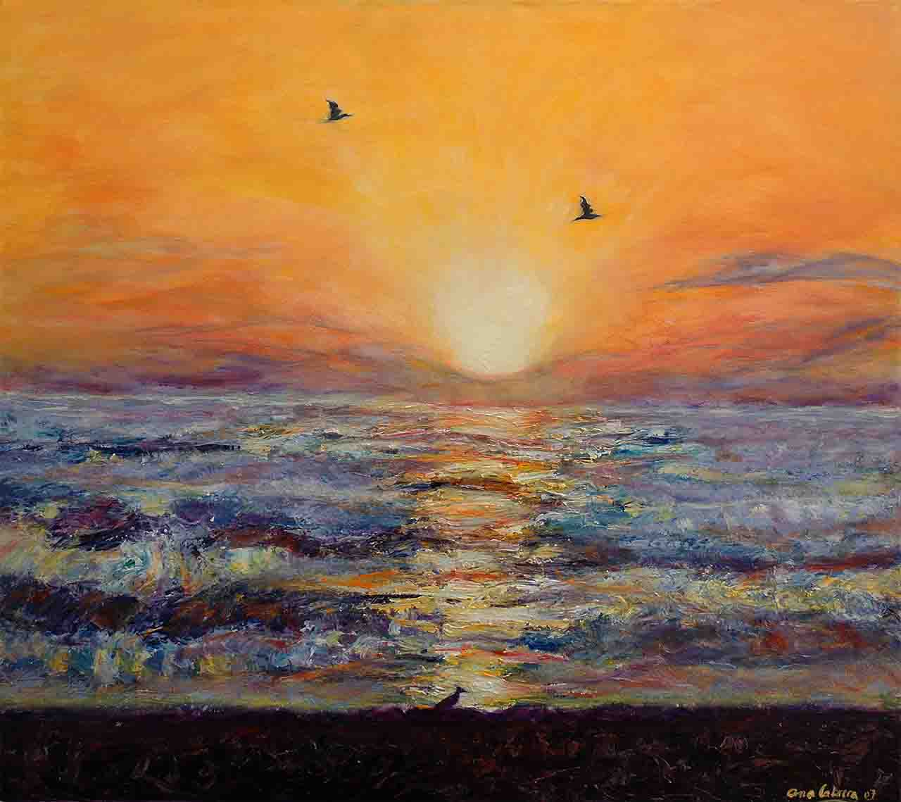 Sunrise at sea that is celebrated by birds in a golden sky by the rays of the rising sun, acrylic on canvas