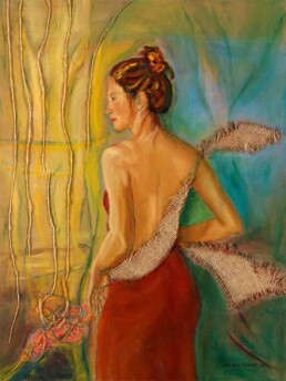 Painting of a young woman who seems to have wings to let her dreams fly, and which has been made with oil paint on canvas and mixed technique. Its size is medium and vertical