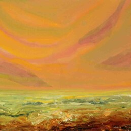 Painting of a raging sea orange like the sky, which also has some red areas. small size, horizontal, oil on canvas