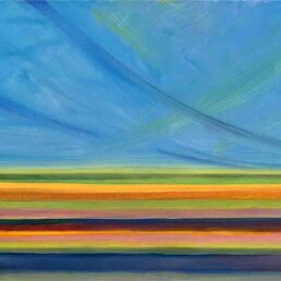Abstract seascape painting done in oil on canvas, horizontal, which symbolizes the sea with parallel horizontal stripes of different colors, and a celestial sky with blue and green curved rays of light