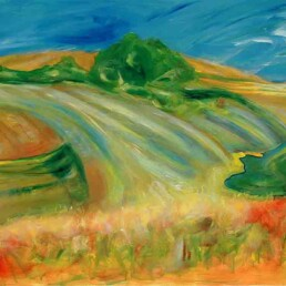 Horizontal acrylic painting that represents a yellow sown field, with a blue sky of the French countryside