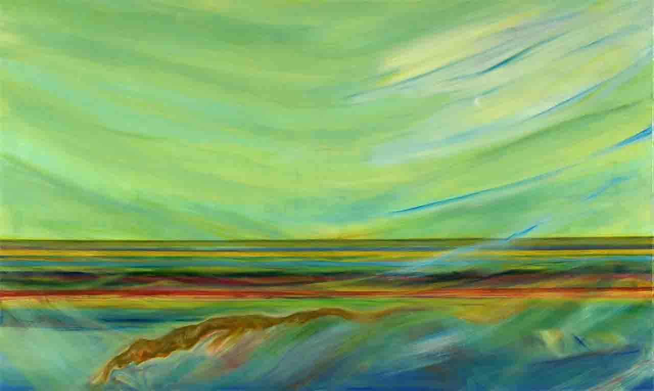 This large horizontal oil painting is part of Ana's series of works of art that refer to maritime landscapes and reflect her love for the sea, and here she continues the trend towards abstraction and imagines a green sky that is reflected in the sea, water and waves