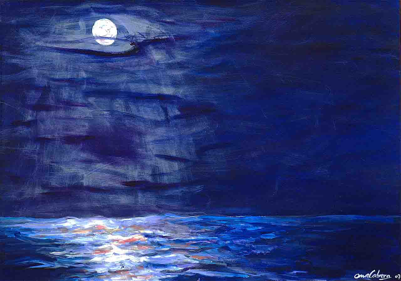 Horizontal acrylic painting of a moon reflecting in the waters of the river, painting the sky and calm water blue