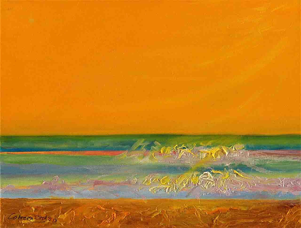 This work of art shows a coastal seascape of Europe, imagined by the artist totally tinted with an orange background, and the style is of oil on horizontal canvas with a tendency towards representational abstraction that although it tends to be abstract, it shows the beach , the sea and the sky