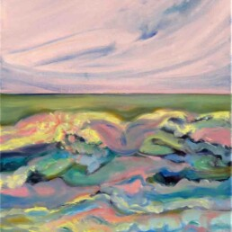 In this painting we find a pink sky that, due to its intensity, bathes the waters of the sea with that romantic tone, and below the green and blue waves are glimpsed. Oil painting on medium-sized vertical canvas.