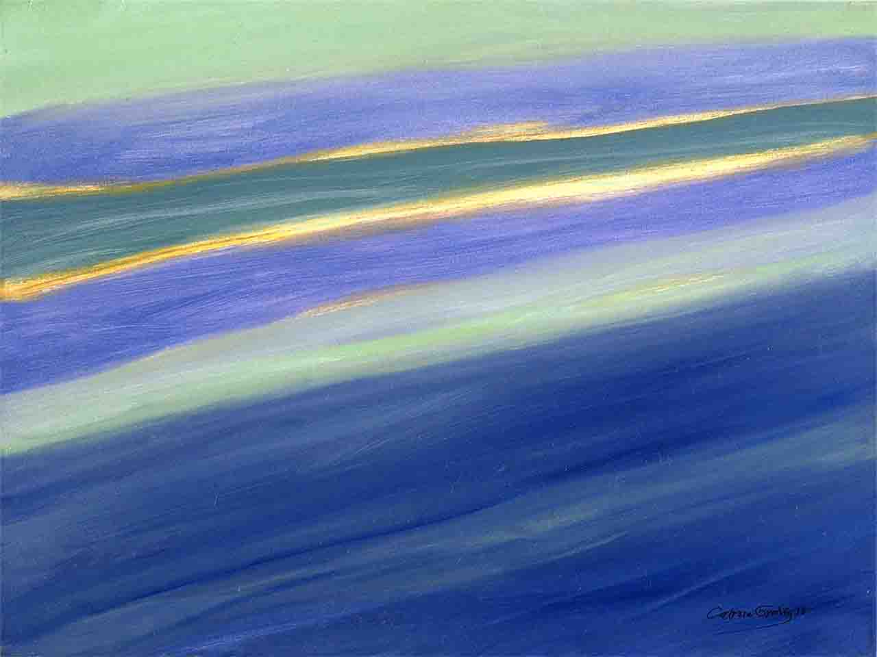 Landscape image of marine abstraction that makes us rest our eyes when we see the diagonal stripes of blue and green tones of a calm sea