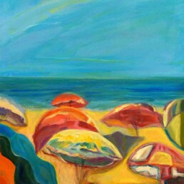 Representation of a Caribbean beach full of umbrellas on a day with full sun, with sea, sky, and a suggested human figure