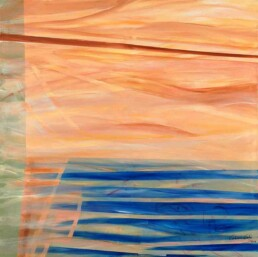 Square acrylic painting that in its lower part has blue stripes that simulate a sea and orange horizontal areas on top, that simulate a sky