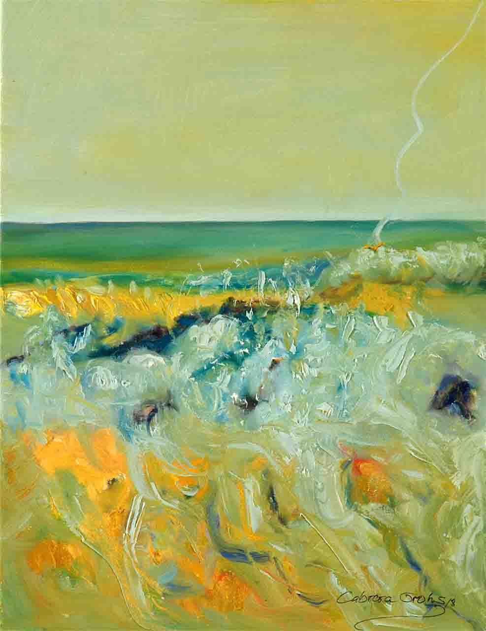 In this abstraction of the California seascape I was inspired by the nature that I love, and so I was able to represent the sea on the coast of the Pacific Ocean, which in the afternoon has beautiful green, yellow and blue colors. it is a vertical oil painting of medium size