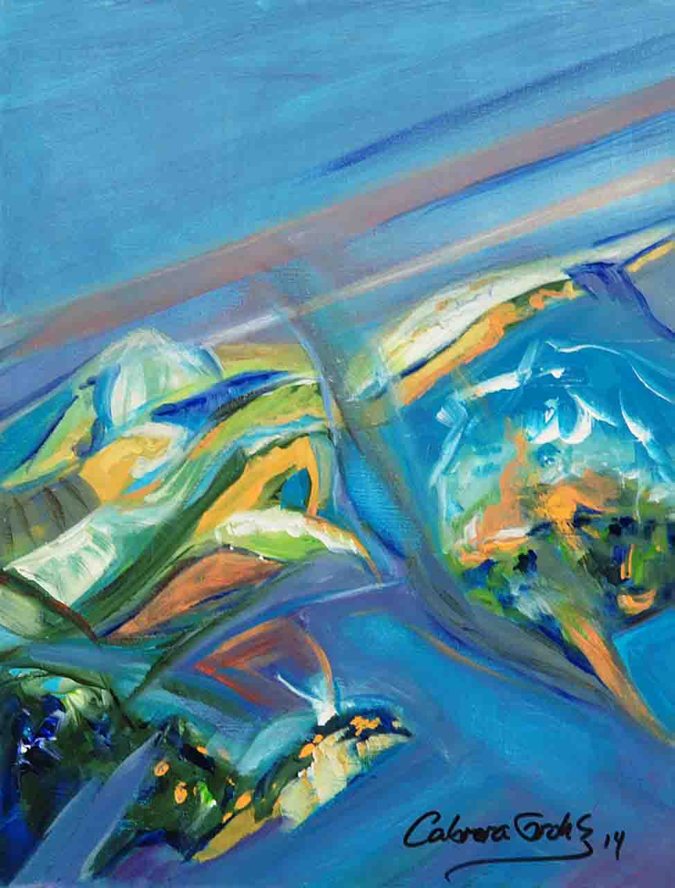 Acrylic painting in abstract style of a Cuban garden plenty of blue colors