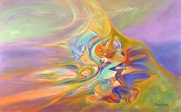 Painting of an abstract image full of colors, similar to an aurora borealis. Made in acrylic on canvas, horizontal size