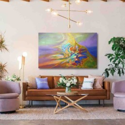 Painting of an abstract image full of colors, similar to an aurora borealis. Made in acrylic on canvas, horizontally sized, and hung in a living room