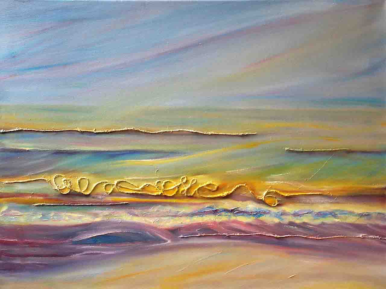 Oil mixed technique original painting, decorative, seascape.