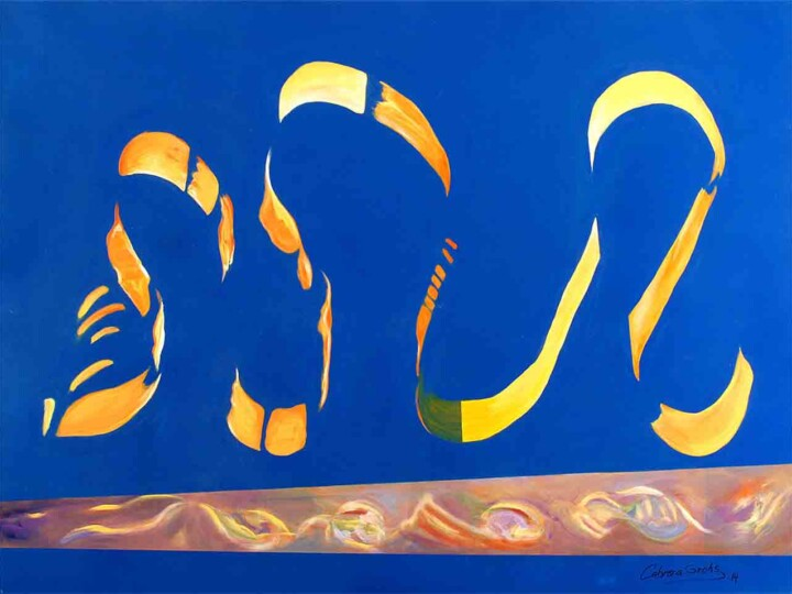Abstract modern painting with blue background and orange waves
