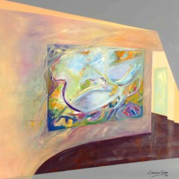 Painting of an interior wall that has another colorful abstract painting hanging