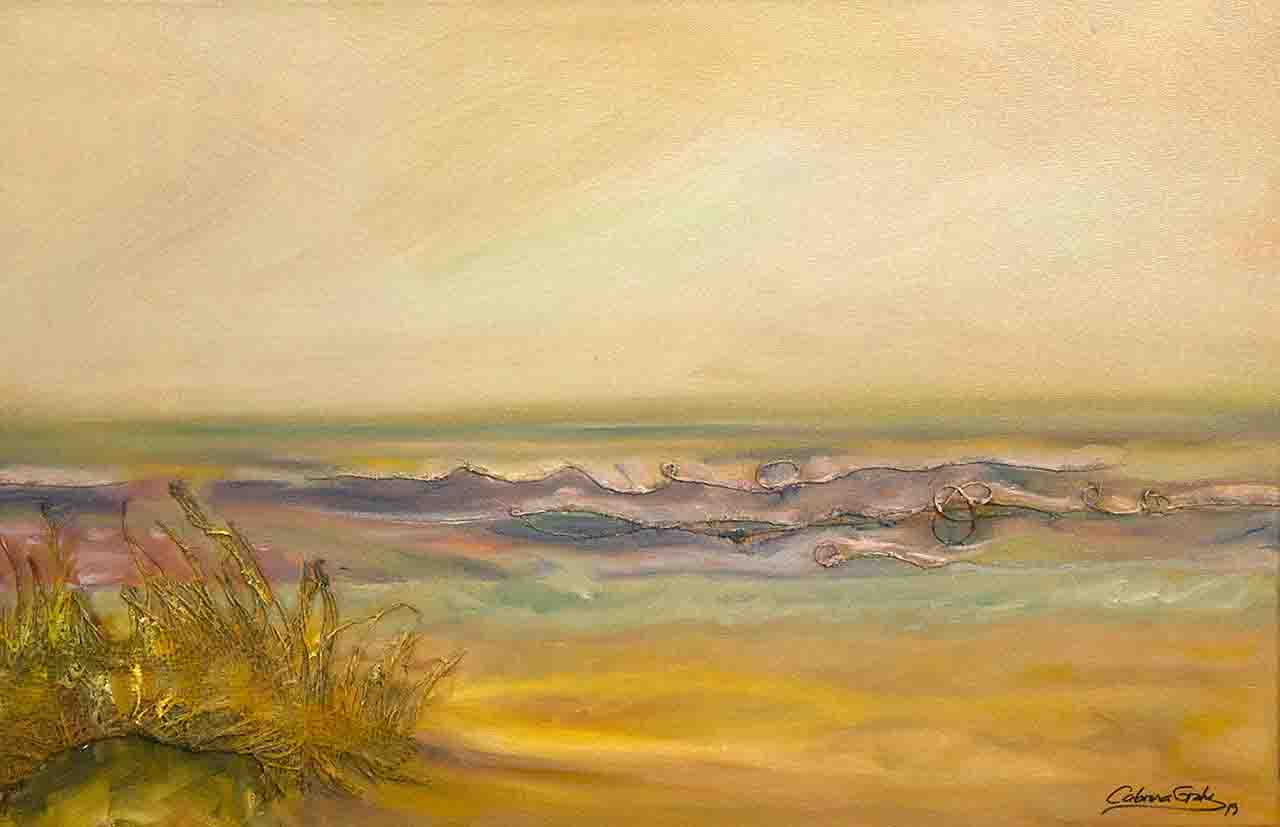 Oil painting of a wonder Mediterranean orange coast
