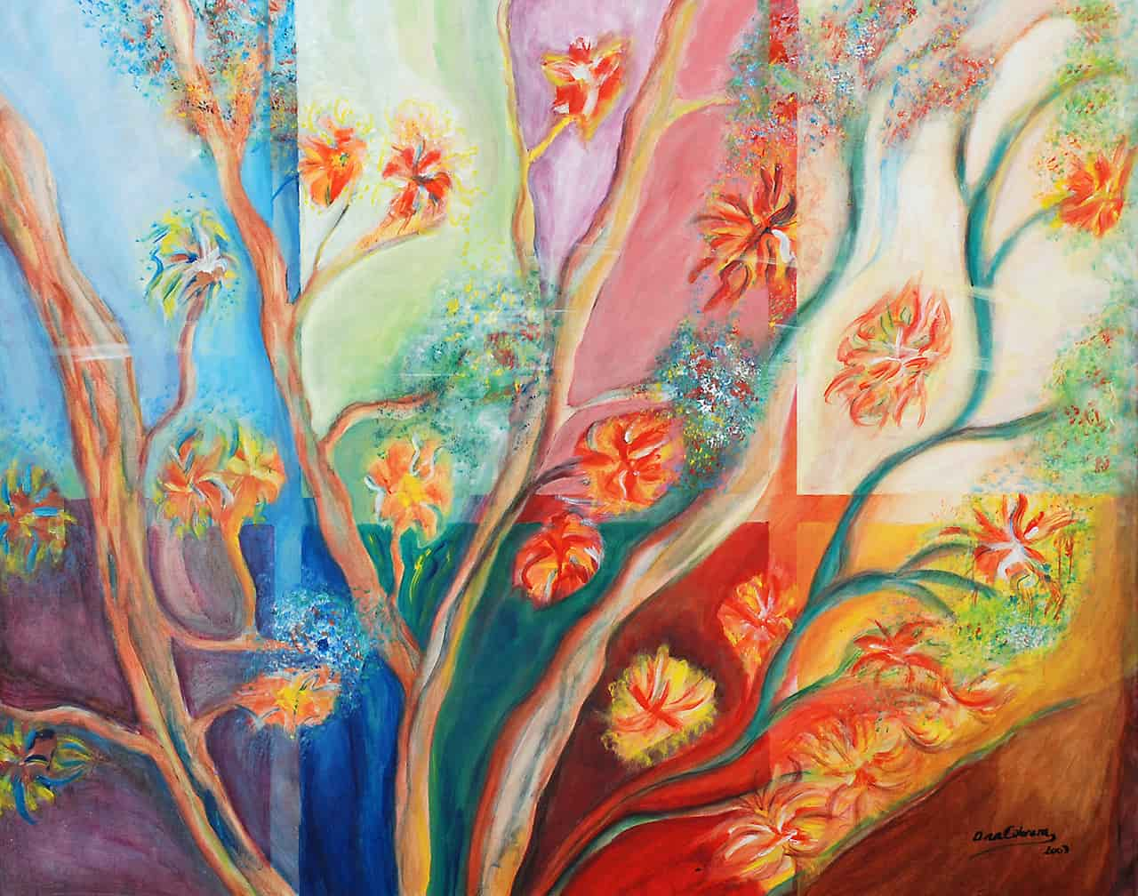 Painting of a colorful window with nice trees and flowers