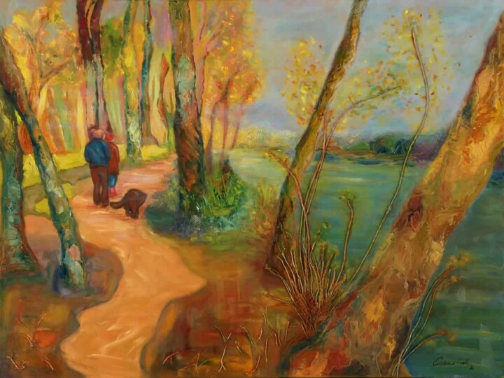 Painting of people enjoying the exuberant nature on the bank of the Lujan river