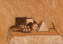 Drawing of geometric figures that show their splendor with their lights and shadows, drawn on brown kraft paper with charcoal and chalk, with medium horizontal size