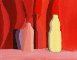 Essay of a representation of a set of bottles and vases, on a pink tablecloth, with a red curtain behind them in which their shadows are reflected. Made directly in oil on canvas without previous drawing, medium size