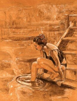 Beautiful environment for a nymph who is seen reflected while descending a wooden ladder towards a lake, where she has submerged her foot. Painting made with charcoal and chalk on kraft paper, medium size