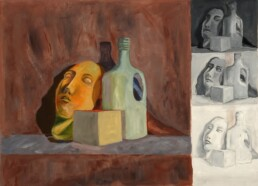 Sample of different levels of hue, saturation and lightness with oil paint