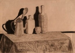 Quick drawing on kraft paper, made with chalk and charcoal that shows the beauty of simple things like bottles, vases and fruits on a table, with their shadows