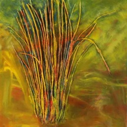 Small painting showing bushes that grow vertically in the hot environment of the tropics