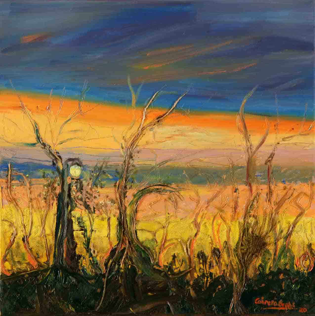 Small size painting that shows a splendid sunset in the Delta, where the sunlight, which is not seen, reflects golden and blue tones in the sky. The painting was done in oil on canvas using mixed media and a palette knife.
