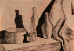 Horizontal drawing with typical kitchen objects, on a table and with the curtain that flies on its right. It was drawn on tracing paper with charcoal, and its size is 26 x 19 inches. Artistic drawing of the Argentine painter born in Parana, Entre Rios