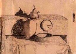 Drawing with black charcoal on transparent tracing paper of still life and small objects in perspective located on a table with a tablecloth, which cast their shadow at a certain angle on the wall