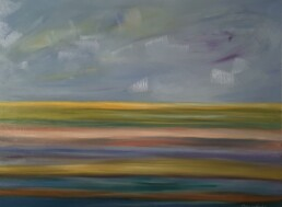 Horizontal painting of the colorful sea transformed by the painter into horizontal stripes of different colors imagined by her and with a cloudy sky. Oil on canvas, horizontal