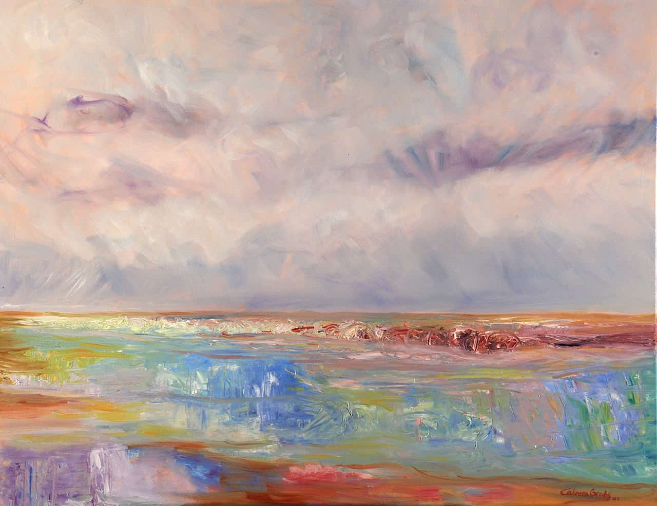 Oil-on-canvas artwork that reflects the deep vibrations that the painter feels contemplating the immense sea, and that she expresses in this 90 x 70 cm horizontal colorful painting